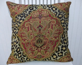 Leopard Paisley  Pillow Cover--18x18 or 20x20 or 22x22 Woven Cody and Cooper Designs Throw Pillow--Red, Brown, Gold, Yellow, Green