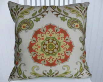 Red Green Suzani Pillow Cover 18x18 or 20x20 or 22x22, Accent Pillow, Decorative Pillow Cover -Throw Pillow- Red, Green, Yellow.