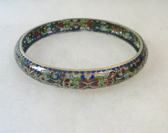 Plique a Jour Clear Cloisonne Bangle Bracelet - Chinese - No. 1025