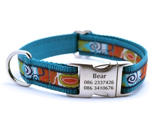 CONTEMPO Dog Collar with Laser Engraved Personalized Buckle