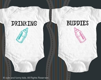 DRINKING BUDDIES - Twins Baby one piece or Infant Shirt - Gift Set
