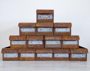 vintage industrial rusty metal drawers, total of 8 left