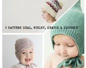 3 Pattern Deal PDF Knitting Patterns to Knit Your Own Hats at Home - Finley, Clover and Keaton