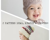 2 Pattern Deal  PDF Knitting Pattern to Knit Your Own Hat at Home - CLOVER and KEATON