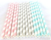 PINK,Blue & grey Stripes-Paper Straws--25ct with Free Printable diy Flags