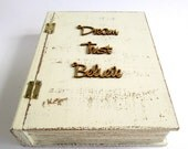 Rustic Wooden Book Keepsake / Trinket / Photo Storage Box in Cream with Lasercut Words - Desk Storage Box