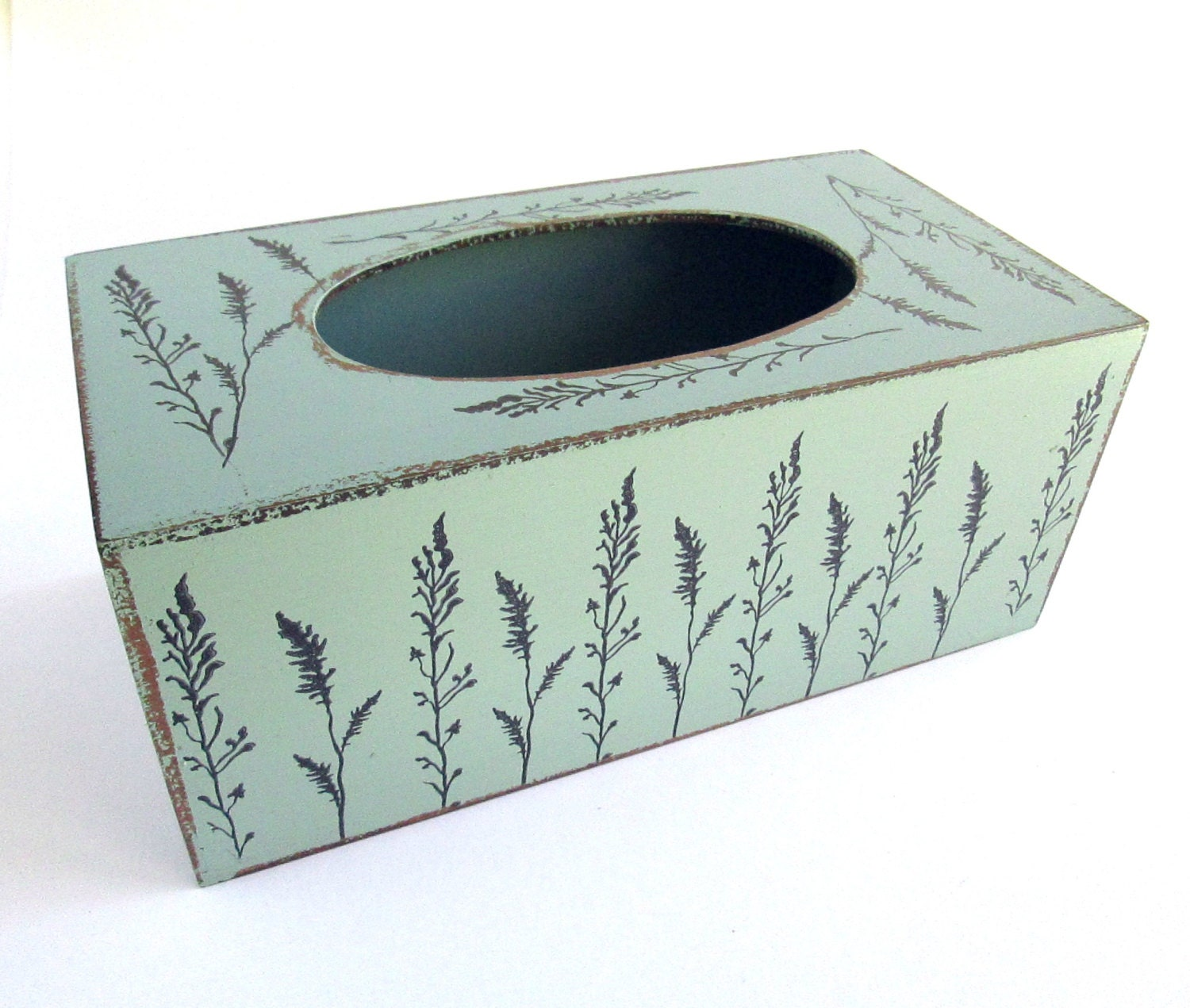 Aqua Tissue Kleenex Box Cover With Floral Leaf Print