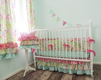 Boutique Cribset using Using Dena Fishbein's Kumari Garden in Aqua, Pink, Green, and Gray, Kumari Garden Baby Bedding, Project Nursery