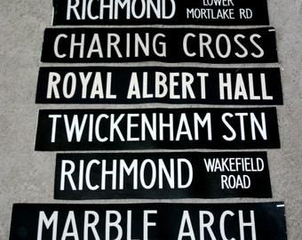 Vintage London Bus Blinds.   unframed for easy postage,lots of destinations
