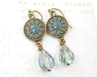 Teal Drop Earrings, Aqua Teardrop Boho Dangle Brass Jewelry  AB4-10