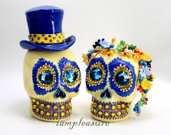 Skull new weddings cake topper handmade Crown of flowers navy blue yellow