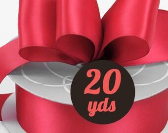 "Satin Scarlet Red Ribbon - 7/8"" wide at 20 yards"