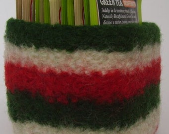 felted wool bowl square container red green cream striped candy dish eco friendly storage