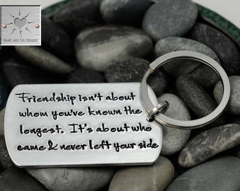 Friendship Isn't About Whom You've Known The Longest - Personalized Hand Stamped Key Chain - Best Friend Keychain