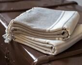 Dervish Crafted Peshtemal Set - Brown and Beige Turkish Bath Towel