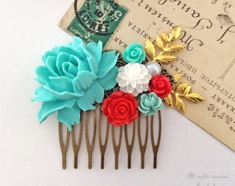 Wedding Hair Comb Bridal Headpiece Turquoise Teal Aqua Red Flower Collage Floral Gold Leaf Branch Vintage Style Chintz Quaint Elegant Chic