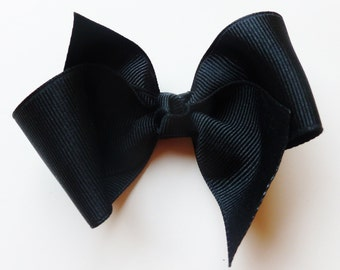 solid black hair bow--perfect for baby toddler big girl-- bows clips hair accessories--3.5 inch back to school bows