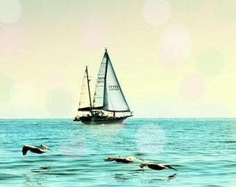 Sailing Decor, Sailboat Photography, Sailboat Art Print, Nursery Wall Art Boys Room, Ocean Photography Pastel, Nautical Art