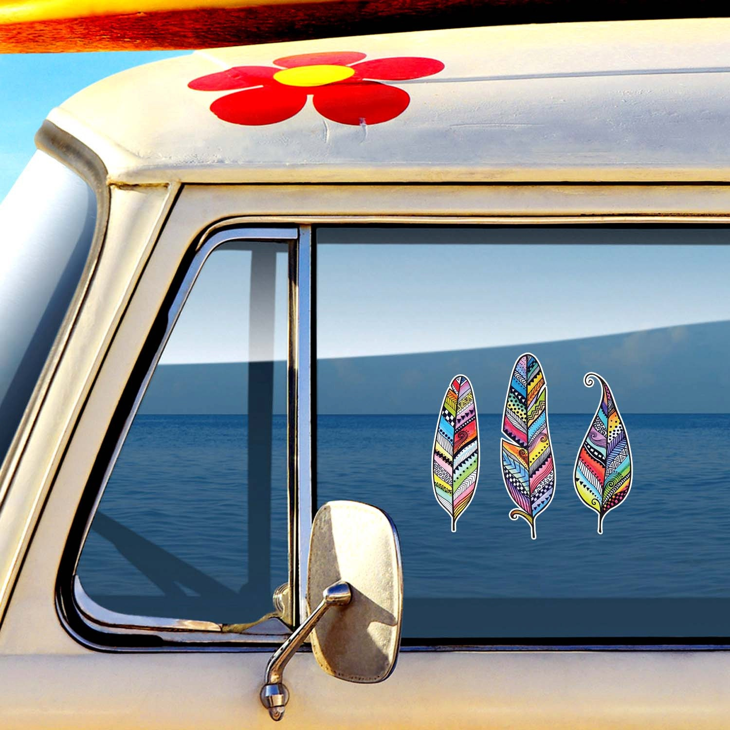 Set Of 3 Feather Car Decals Colorful Tribal By MeganJDesigns