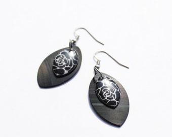 vinyl record earrings black earrings eco-friendly earrings resin earrings floral earrings unique jewelry hypoallergenic earrings gift idea