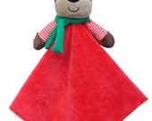 Personalized reindeer rattle security blanket