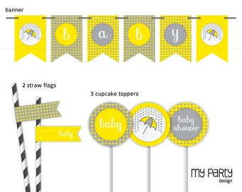 Love Rain Neutral Baby Shower Party - Party Pack - Yellow Grey - INSTANT DOWNLOAD - Printable PDF