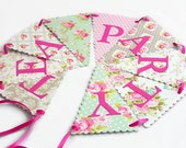 Tea Party Bunting Banner - Pink, Mint Green, Grey - Mismatch Floral, Polka Dots - Shower Decoration