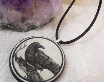 Raven Round Wooden Pendant Necklace