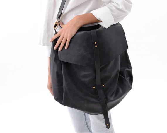 Large Black Leather Hobo Bag for Women Handmade Slouchy