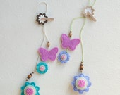 Flowers and butterfly felt bookmark, spring ornament