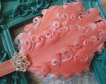 Coral Frills Feather Headband - Coral/White Feathers & Rhinestone Button on Stretch Elastic - made to fit any age