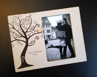 Family Tree Frame Wedding Gift Anniversary Gift Personalized Adoption Keepsake Family Frame Baby Gift 4x6 Photo Frame Love Birds Owl Gift