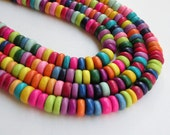Rainbow wood beads rondelle bright colorful Cheesewood 8x4mm full strand eco-friendly 9711NB