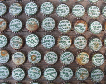 cork lined bottle caps lot of 100 green and white rusty altered art mixed media