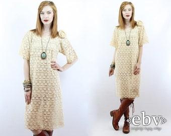 Vintage 70s Crochet Lace Dress S M Hippie Wedding Dress Hippie Dress Hippy Dress Boho Dress Hippy Wedding Dress Boho Wedding Dress