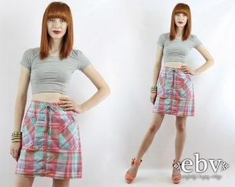 Plus Size Skirt Plus Size Vintage High Waisted Skirt High Waist Skirt Plaid Skirt XL Skirt Vintage 90s High Waisted Plaid Mini Skirt XL 1X