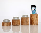 Unique Gift - iPhone 6 / 6S Dock and Candle Holder- home decor - handmade from hardwod