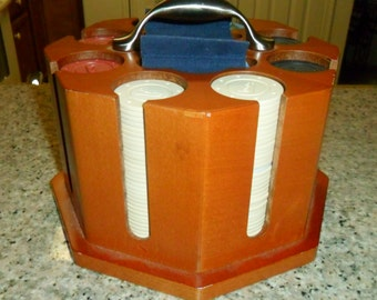 Michael Graves Octagon Wood Poker Caddy with Chips and Two Decks of Cards