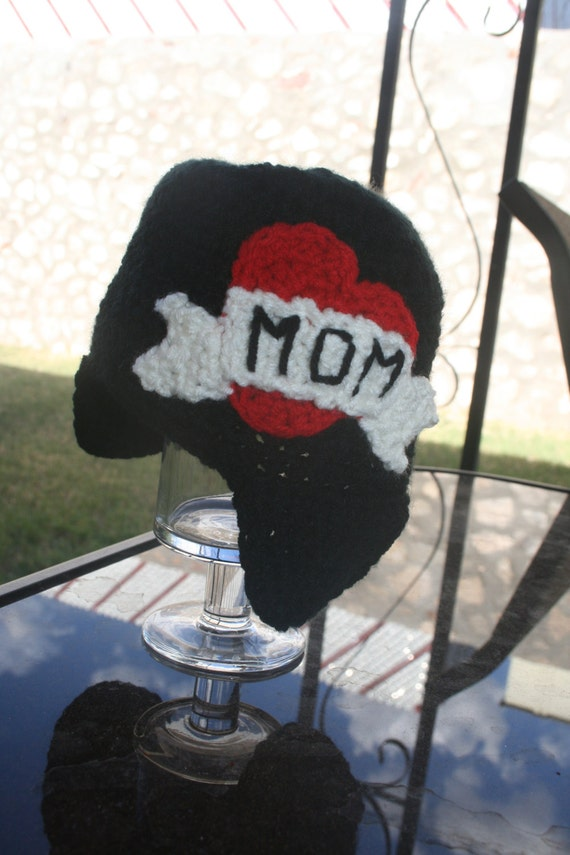 0-3 month Ready to Ship Mom Tattoo Crochet Beanie