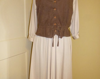Vintage Dress with Vest Boho Style