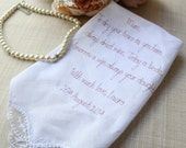 Mother of the Bride Handkerchief /Hanky Wedding Favour