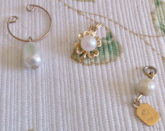 3 Pearl  Pendants or Charms Sold Separately or Together for a Discount