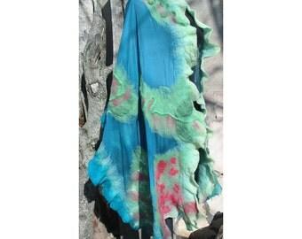 Felt Shawl,Nuno Felt Shawl,Woman Gift,Blue reseda Cape,Nuno Felt Shawl,Wool Scarf,Blue Reseda Shawl,European Shawl,Felt Wrap Shawl,Handmade