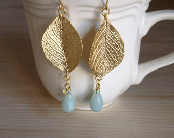 Beautiful Amazonite Gold Leaf Earrings