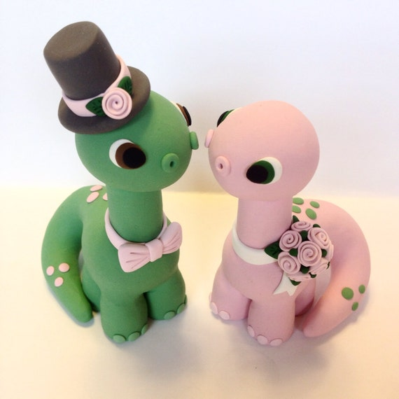Dinosaur Wedding Cake Topper Choose your colors