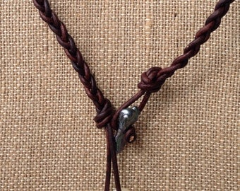 Braided freshwater pearl and leather lariat necklace-Free Shipping to US