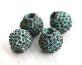 Rustic dotty round beads, Patina on copper, beads with dots, mykonos Greek beads, Lead Free, 8mm - 4Pc - F194