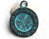Ancient Symbols pendant bead, Verdigris patina on copper, Signs, Greek metal casting, 35mm, Lead Free - F166