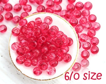 Czech Seed beads, size 6/0 - Dark Pink - large Rocailles, glass beads - 20gr - 1391