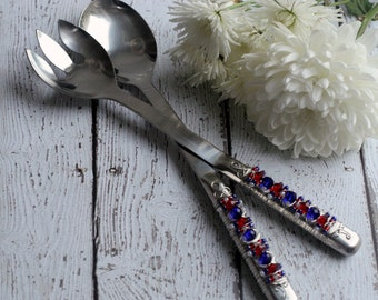 COUTURE Red, White, & Blue Beaded Wire Wrapped Salad Serving Set